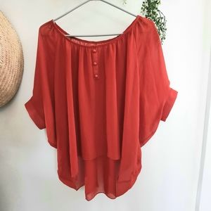 Batwing Sleeve Top Back Gathering With Button